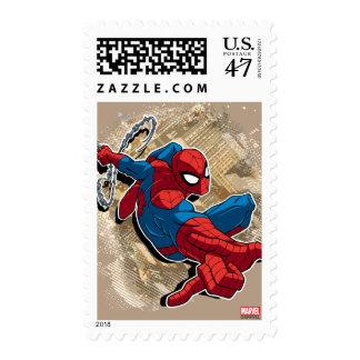 Spider-Man Web Slinging Above Grunge City Stamp