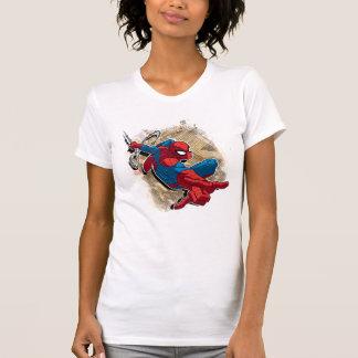 Spider-Man Web Slinging Above Grunge City T Shirt