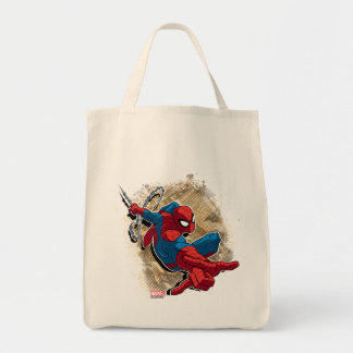 Spider-Man Web Slinging Above Grunge City Tote Bag
