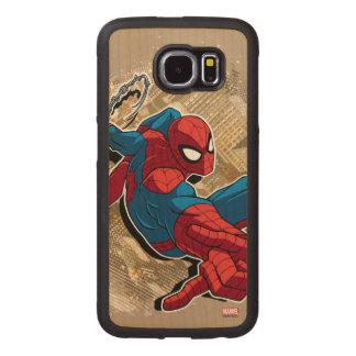 Spider-Man Web Slinging Above Grunge City Wood Phone Case