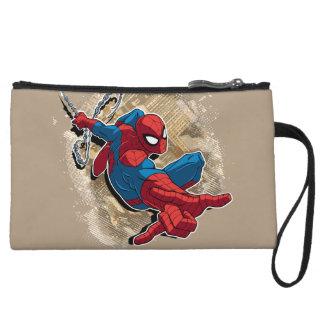 Spider-Man Web Slinging Above Grunge City Wristlet