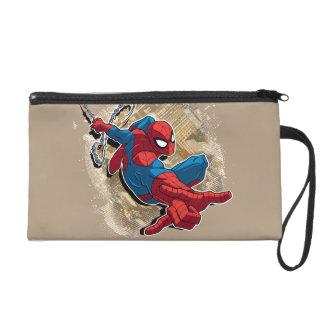 Spider-Man Web Slinging Above Grunge City Wristlet Purse