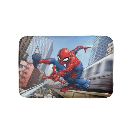Spider-Man Slinging By Train Bathroom Mat