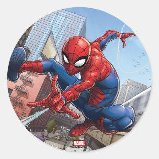 Spider-Man Web Slinging By Train Classic Round Sticker