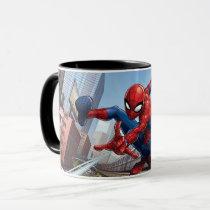 Spider-Man Web Slinging By Train Mug