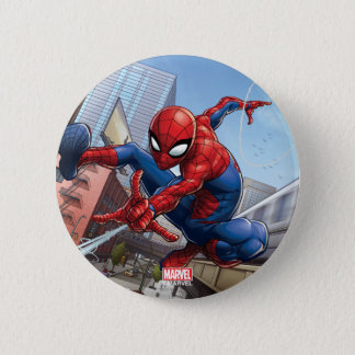Spider-Man Web Slinging By Train Pinback Button