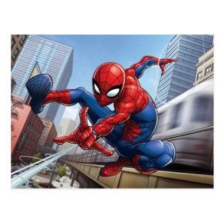Spider-Man Web Slinging By Train Postcard