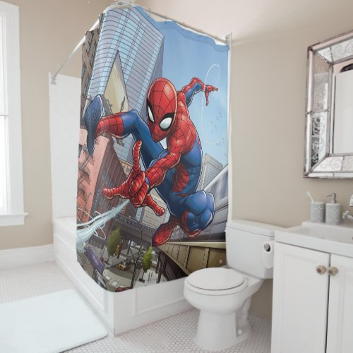 Spider-Man Web Slinging By Train Shower Curtain