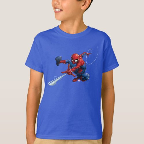 Spider_Man Web Slinging By Train T_Shirt