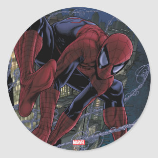 Spider-Man Web Slinging From Daily Bugle Classic Round Sticker