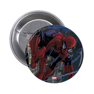 Spider-Man Web Slinging From Daily Bugle Pinback Button