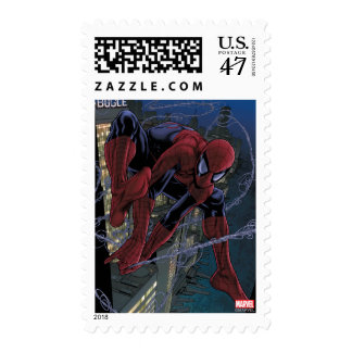 Spider-Man Web Slinging From Daily Bugle Postage Stamp