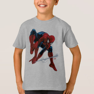 Spider-Man Web Slinging From Daily Bugle T-Shirt