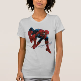 Spider-Man Web Slinging From Daily Bugle Tee Shirt