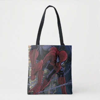 Spider-Man Web Slinging From Daily Bugle Tote Bag