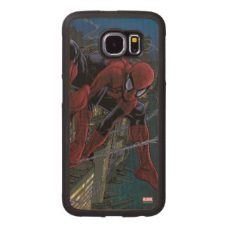 Spider-Man Web Slinging From Daily Bugle Wood Phone Case