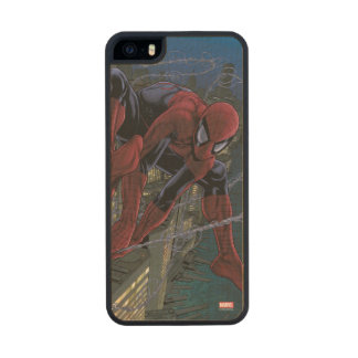 Spider-Man Web Slinging From Daily Bugle Wood Phone Case For iPhone SE/5/5s