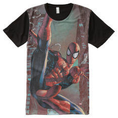 Spider-man Web Slinging In City Marker Drawing All-over-print Shirt at Zazzle