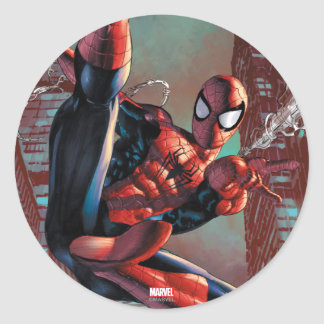 Spider-Man Web Slinging In City Marker Drawing Classic Round Sticker