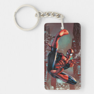 Spider-Man Web Slinging In City Marker Drawing Keychain