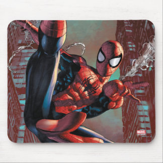 Spider-Man Web Slinging In City Marker Drawing Mouse Pad