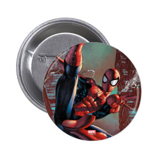 Spider-Man Web Slinging In City Marker Drawing Pinback Button