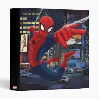 Spider-Man Web Slinging Through Traffic 3 Ring Binder
