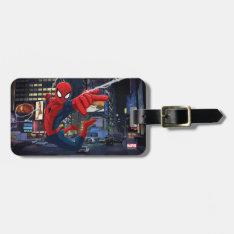 Spider-Man Web Slinging Through Traffic Bag Tag at Zazzle