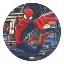 Spider-Man Web Slinging Through Traffic Classic Round Sticker