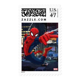 Spider-Man Web Slinging Through Traffic Postage Stamp