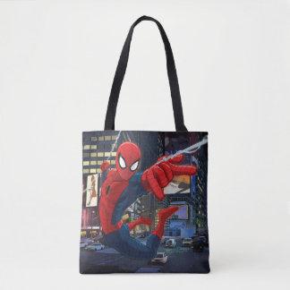 Spider-Man Web Slinging Through Traffic Tote Bag