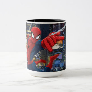 Spider-Man Web Slinging Through Traffic Two-Tone Coffee Mug