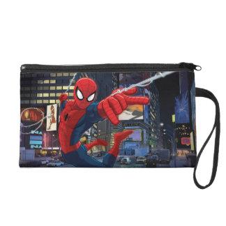 Spider-Man Web Slinging Through Traffic Wristlet