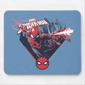 Spider-Man | Web-Swinging Over City Badge Mouse Pad
