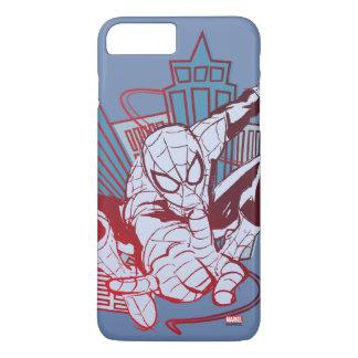 Spider-Man y bosquejo de la ciudad Funda iPhone 7 Plus