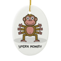 Spider Monkey Ceramic Ornament