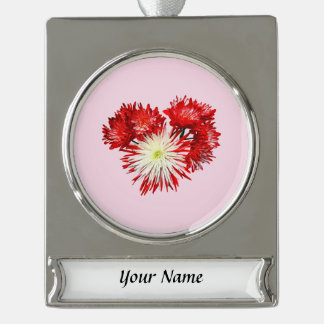 Spider Mum Heart Silver Plated Banner Ornament