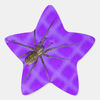 Spider on Purple Cool Halloween Design Star Sticker