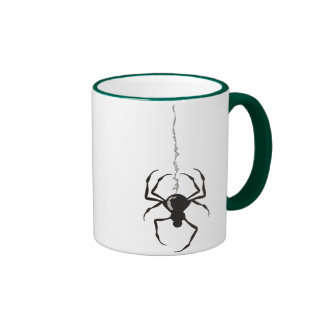 Spider on Strand Black Mugs