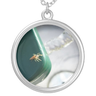 Spider on water foutain round pendant necklace