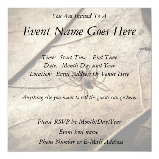 Spider on Weathered Leaf Personalized Invitations