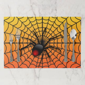 Spider on web Awesome Halloween Paper Placemat