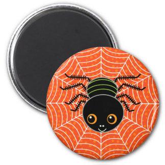 Spider on Web Orange Magnet