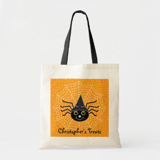 Spider on Web Personalized Halloween Treat Tote Bag