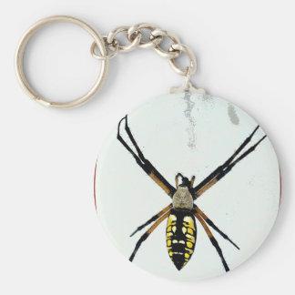 Spider orb yellow black animals wild arachnid basic round button keychain