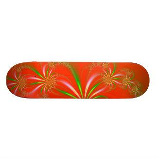 Spider Plant Fractal on Orange Red Skateboard