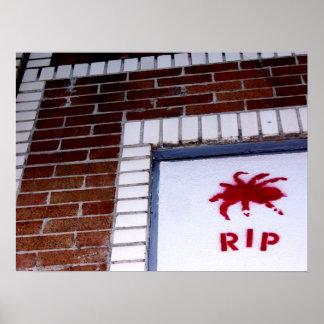 spider r.i.p. stencil poster