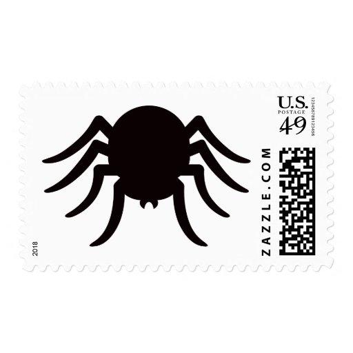 Spider silhouette black white Halloween postage