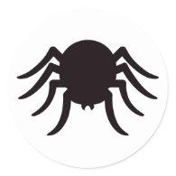 Spider silhouette black white Halloween stickers