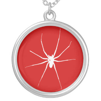 spider. silver plated necklace